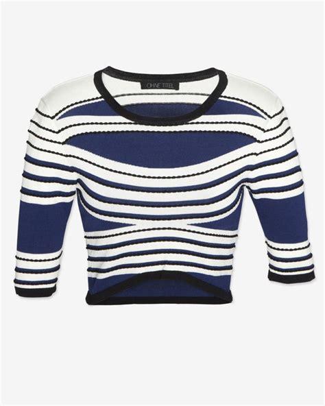 hemming jersey knit ohne titel striped curved hem jersey knit crop top in blue