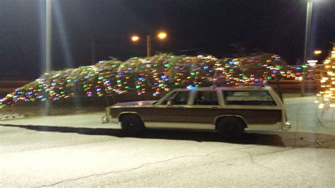 griswald tree in replica vacation vehicle brings