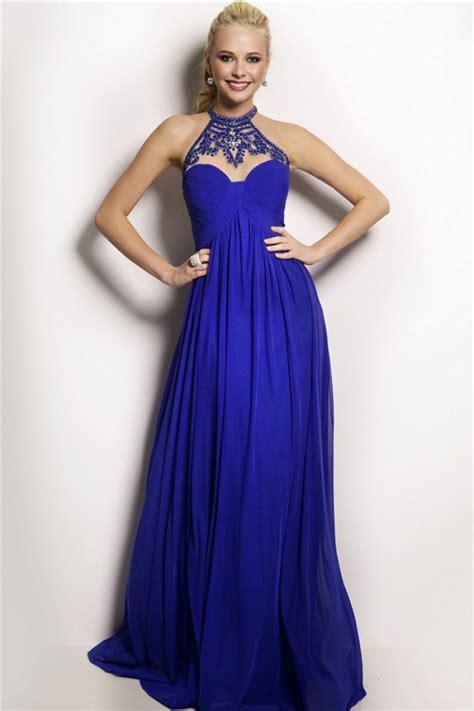 high neck beaded prom dress flowing high neck empire waist royal blue chiffon