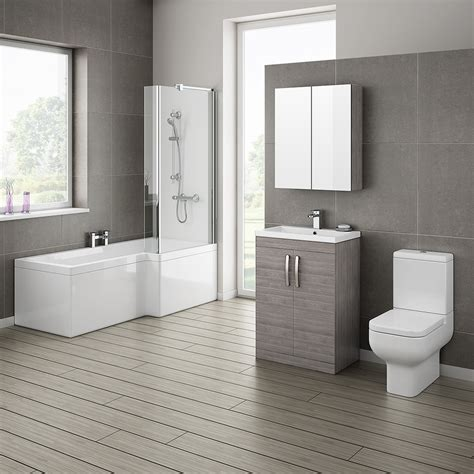 Images Of Bathroom Suites by Brooklyn Grey Avola Bathroom Suite With L Shaped Bath