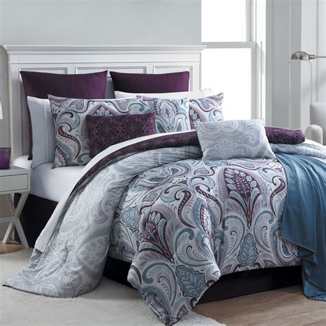 home bedding sets essential home 16 complete bed set bedrose plum