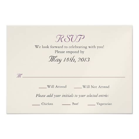 how to make rsvp cards for wedding wedding rsvp card with entree selections 3 5 quot x 5