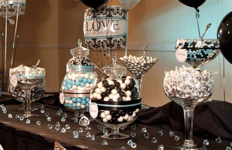 black and white decorations chic black and white damask with teal bridal shower decor