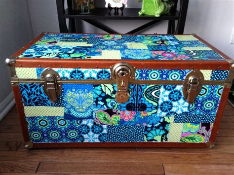 decoupage with fabric decoupaged trunk with butler fabric decoupage