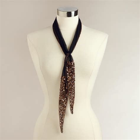 beaded scarfs beaded black mesh scarf world market