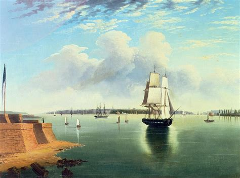 paint island new york view of new york from bedloes island painting by joseph b