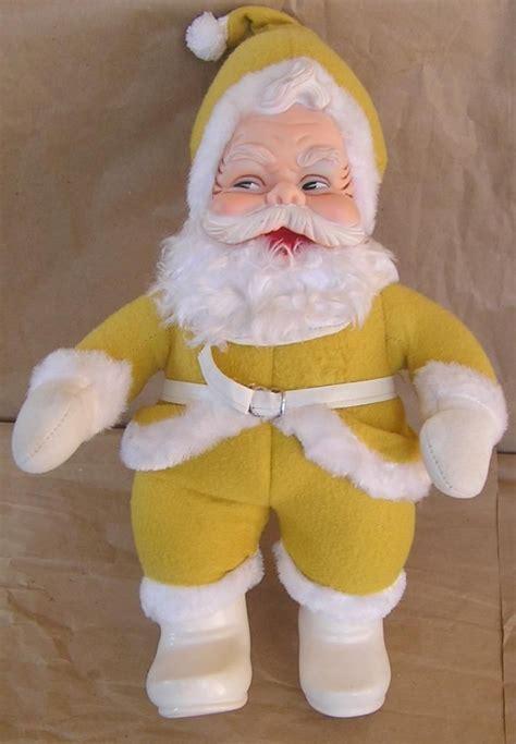 santa claus rubber sts vintage rushton yellow color plush santa claus w