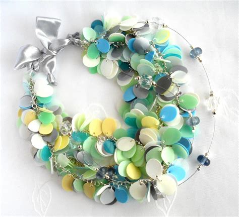 reuse gold to make new jewelry blue green white pastel statement necklace made of