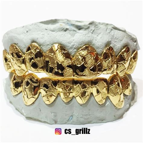 jewelry stores that make grillz sterling silver w 18k yellow gold plated nugget cut
