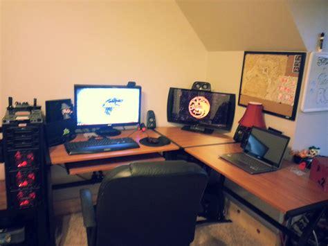l shaped desk gaming setup cool computer setups and gaming setups