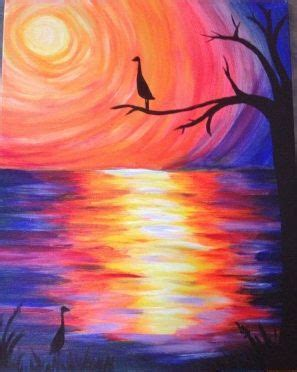 acrylic painting on canvas cranes sunset 1000 images about pastel on