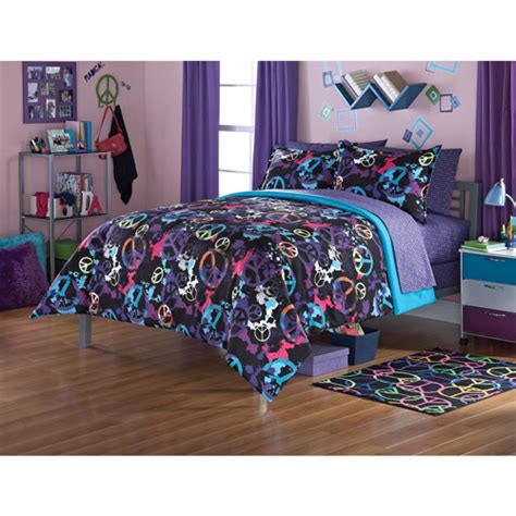 peace bedding sets your zone peace splatter bedding comforter set walmart