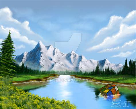 bob ross painting gimp landscape bob ross style in gimp by ka21k on deviantart