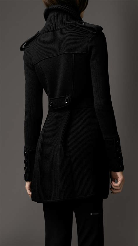 knit coat burberry ribbed knit pea coat in black lyst