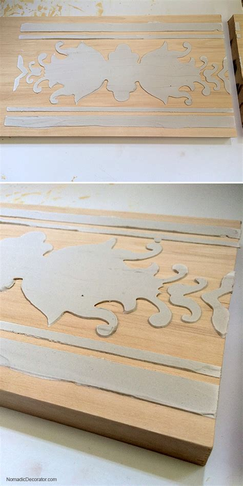 chalk paint joint compound diy project wood sconce with embossed stenciled design