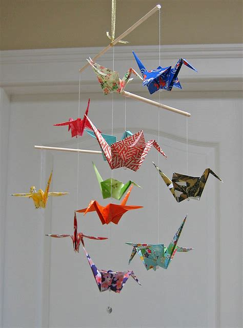 origami mobile origami crane mobile assorted washi print papers home
