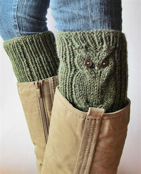 knit leg warmers for boots owls green wool knitted boot cuffs leg warmers