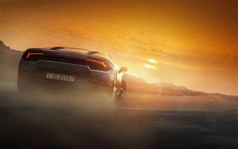 Car Sunset Wallpaper by Lamborghini Huracan Supercar Back View At Sunset Wallpaper