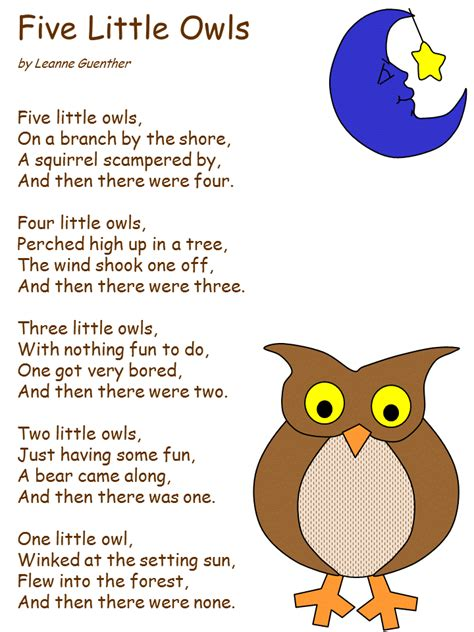 tree poems preschool owl poem preschool songs rhyming word