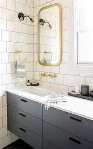 flat bathroom mirrors gray floating washstand with brass astoria flat mirror