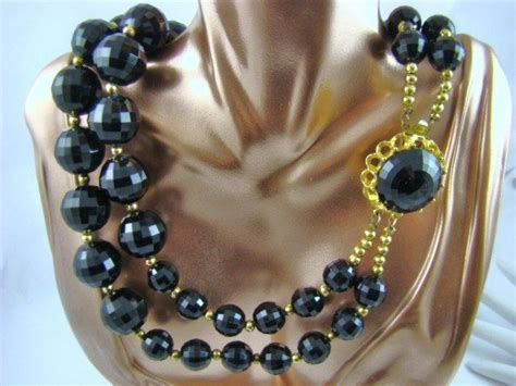 big bead jewelry big bold black strand lucite bead necklace from