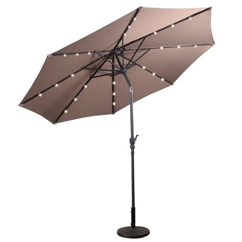 patio solar umbrella 10 ft patio solar umbrella with crank and led lights outdoor umbrellas sunshades outdoor