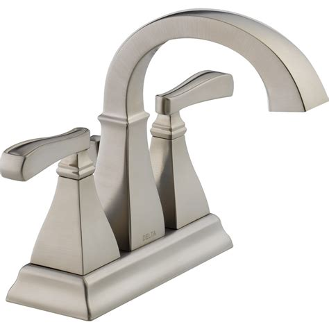 delta bathroom fixtures shop delta olmsted spotshield brushed nickel 2 handle 4 in