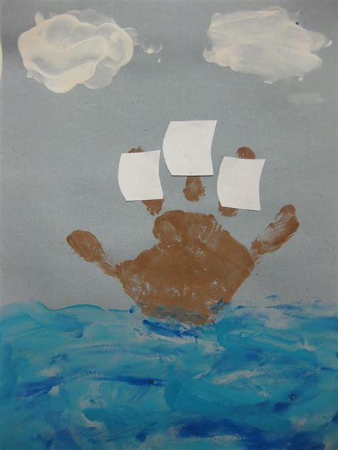 ship craft for ww mayflower handprint boat cherry blossom midtown