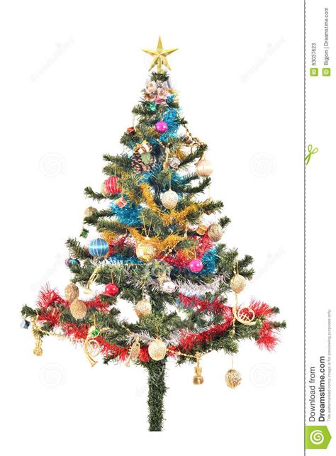tree with ornaments tree with colorful ornaments stock photo