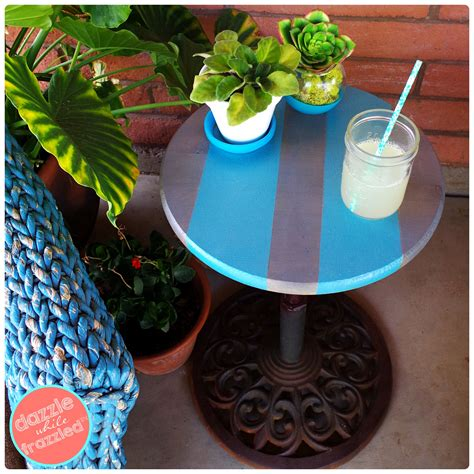 patio umbrella stand side table diy umbrella stand into an easy patio side table