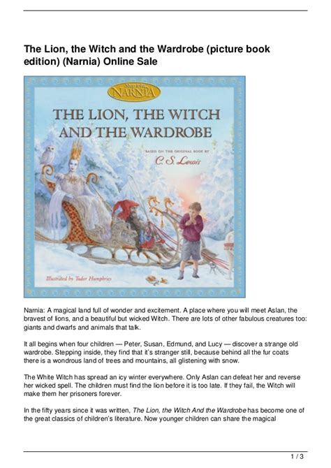 wardrobe picture book the the witch and the wardrobe picture book edition