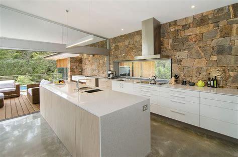 Round Pool Deck 30 inventive kitchens with stone walls