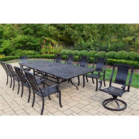 11 patio dining set oakland living extendable aluminum 11 rectangular