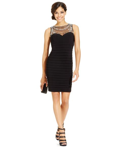 dress with beaded neckline patra bodycon dress with beaded illusion neckline in black