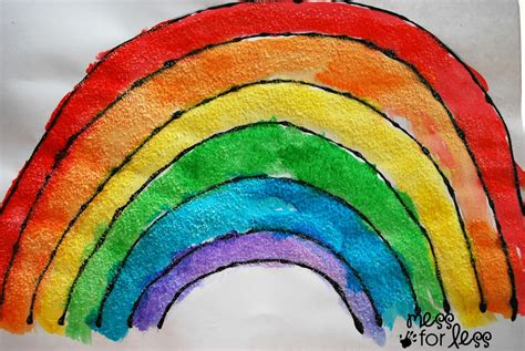rainbow craft for black glue and salt watercolor rainbow salt painting for