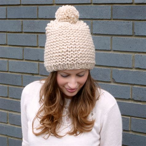 knitting pattern for hat in chunky wool chunky pom pom beanie hat knitted merino wool on