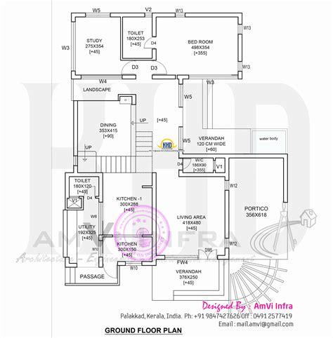 ground floor plan modern 4 bhk house plan in 2800 sq home kerala plans