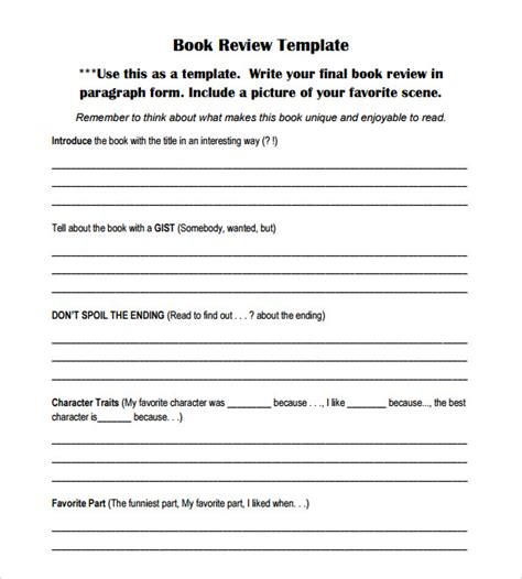 book pdf free book review template 7 documents in pdf word