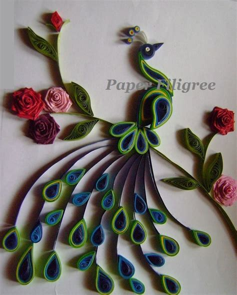 quilling paper craft ideas an paper quilled peacock is a picture frame which