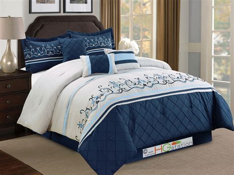 light blue and white comforter set 7 pc floral damask embroidery comforter set king