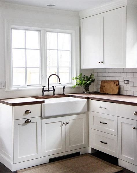 white kitchen cabinets with butcher block countertops 25 best cottage kitchen tiles ideas on