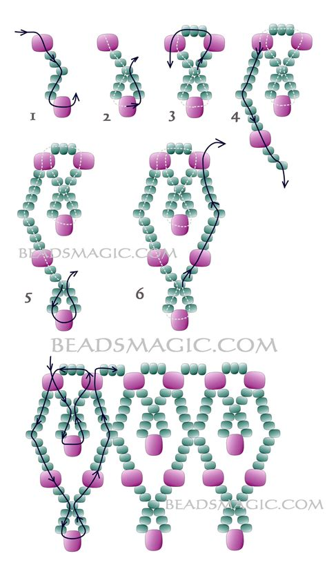 2 bead patterns kor 225 lky on seed beaded necklaces and
