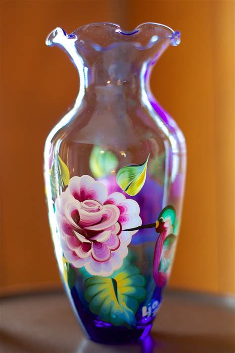 acrylic paint on glass painted glass vase with roses and hummingbirds acrylic