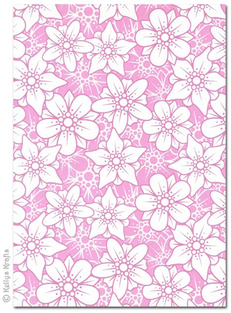 patterned craft paper a4 patterned card flowers pink and white 1 sheet 163 0
