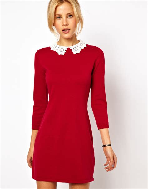 knit dress with asos knit dress with lace collar in lyst