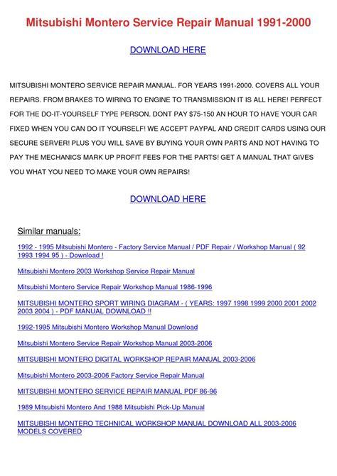 mitsubishi montero service repair manual 1991 by bruceanthony issuu