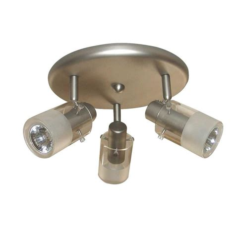 home depot ceiling light fixtures hton bay 3 light brushed steel ceiling mount