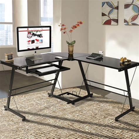 home office table desk l shape computer desk pc glass laptop table workstation