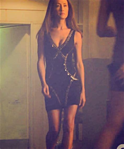 chagne beaded dress maggie q fashion 2x01 change