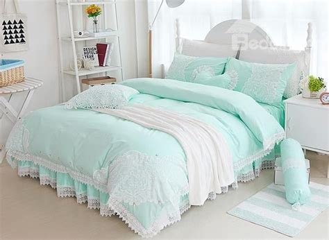mint green bedroom ideas princess style lace edging mint green cotton 4